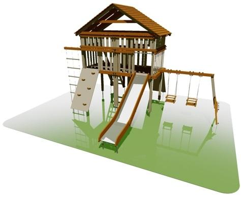 детские площадки из дерева, серия maxi